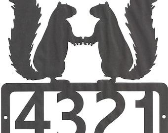 Custom Squirrel Address Metal Sign