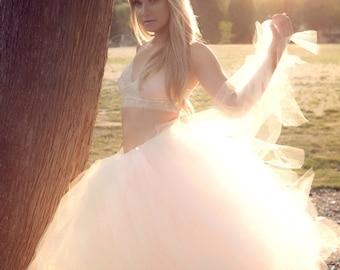 Boho Bridal Tulle Skirt Women's Wedding Full Length Ballroom Style Pink and Ivory Bridal Tutu Skirt