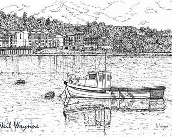 Pen and Ink Drawing Art Prints - Medway Mooring - Leisure Nautical boat Art Water ink drawing Landscape illustration