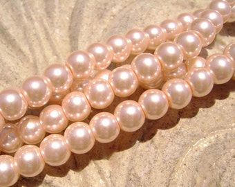 Pearlescent Glass Pearl Pearls Beads Peach 8mm Round LARGE 30mm Strand