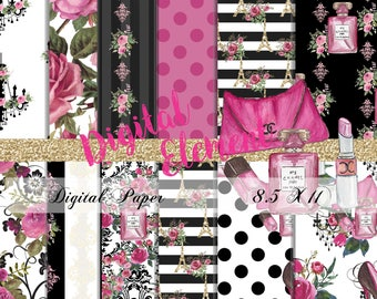 Digital Paper, Digital Scrapbook, Paris Digital Paper, Watercolor Fashion Paper, Pink and Black Digital Paper. No. P202