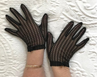 short black gloves . black nylon gloves . black lace gloves