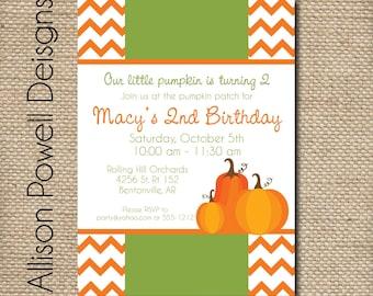 Custom Printable Birthday Invitation - Pumpkin Patch Party - Chevron - DIY