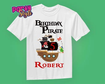 Pirate Birthday Shirt - Pirate Ship - any age and name