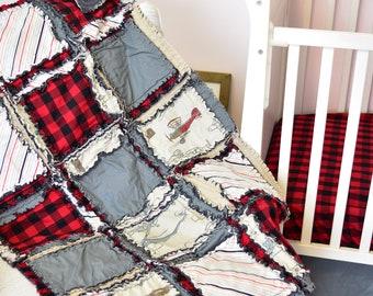 Vintage Airplane Baby Boy Nursery Crib Size Rag Quilt - Gray / Red / Buffalo Plaid