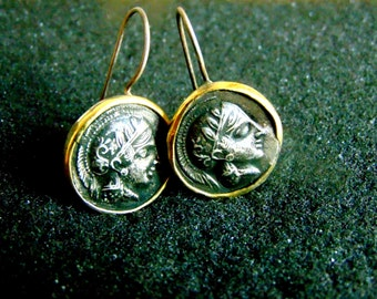 Silver and 18k Gold Earrings,Ancient Coin Replica Earrings for Women,Godess Athena Drop Earrings, Athenian Drachma Earrings,Gift for Her