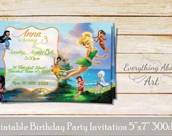 Tinkerbell Invitation, Fairies Birthday Invite, Tinkerbell Birthday Invite, Fairies Party Invitation, Party with Fairies, Printable invite
