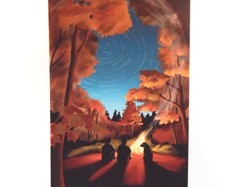 Autumn Campfire with Starry Sky Print of Original Illustration