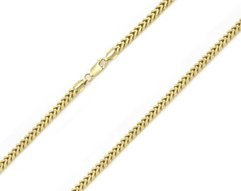 "10K Yellow Gold Hollow Franco Necklace Chain 1.5mm 16-30"" - Box Link"