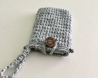 Crocheted  phone case, crocheted cotton small bag, light blue crocheted small purse, crocheted gift for her.