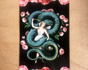 The Enchantress Original Collage Print UV protected 8.52x5.47 inches snake japan victorian floral Surreal Scientific Illustration Weird