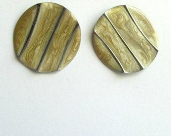Wavy Cream and Silver Enamel Post Earrings