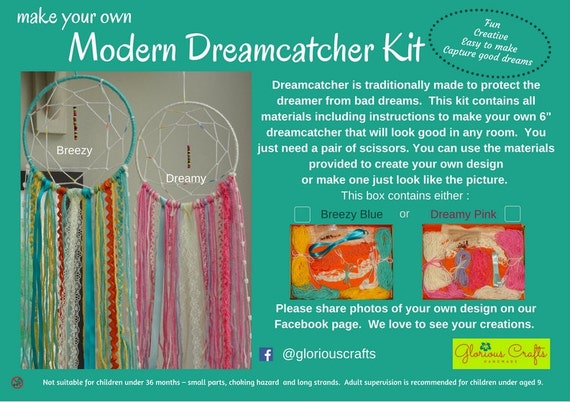 Dream catcher kit boho craft kit for adults blue pink for Mother s day craft kits
