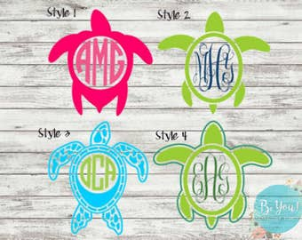 Sea Turtles Decal | Monogram Decal | Nautical | Sea-Beach