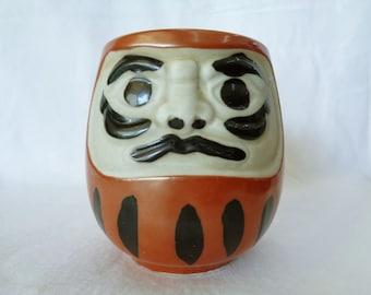 "RJ83:""Daruma"" Yunomi tea cup,Daruma tea cup,Vintage Japanese Lucky Daruma Yunomi tea cup,Origin Japan"
