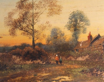 Vintage Oil Painting Country Cottage Landscape On Cardboard Rural Rustic Scene Trees Sunset Dusk Light Charming Simple Rural Decor