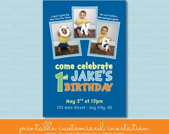 "First Birthday Invitation with ""One"" Photos"
