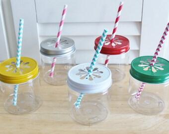 Plastic Mason Jars with Daisy Lids, Plastic Mason Jar Cups, Baby Shower, 32 Plastic Jars, Kids Birthday Party Supplies,  Wedding Table 8oz