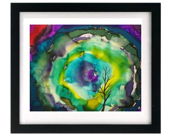 Limited Ed. 1 / 5 Giclée Tree Print Psychedelic Abstract Painting