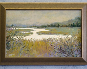 Dusk oil painting by Margery Caggiano. Framed landscape original art.