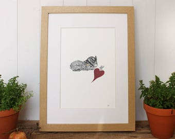 Valentines | Cute Love Bunnies Print (Print only or Framed)
