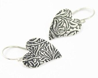 Sterling Silver Heart Earrings, Floral Pattern, Oxidized, Handmade