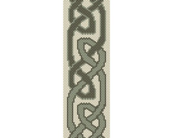 Celtic Knot Peyote Bead Pattern, Bracelet Cuff, Bookmark, Seed Beading Pattern Miyuki Delica Size 11 Beads - PDF Instant Download