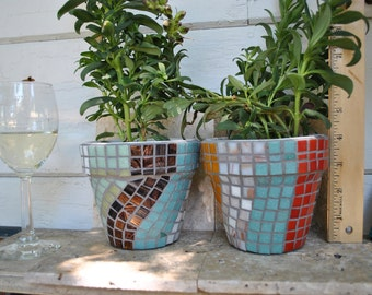 Pair of Mosaic Tile Flower Pots Teal, Tomato, Tobacco, White and Mustard