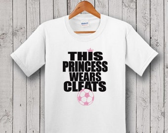 Soccer YOUTH T-shirt - Glitter, This Princess Wears Cleats, Birthday Gift, Goddaughter Gift, Niece Gift
