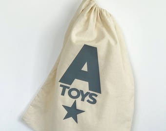 Personalised children's toy drawstring bag