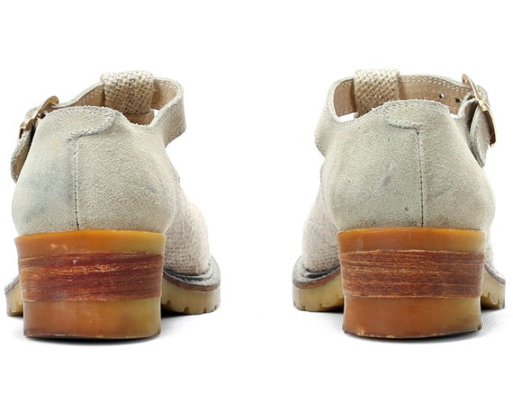 Vintage Suede Footwear EUR 6 Shoes Linen Sole Platform Rugged Mary Janes 39 Beige Strap women High 8 90s T US 5 and UK Shoes Quality 0zqwn