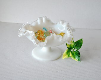 Vintage Fenton White Milk Glass Silver Crest Ruffled Crimped Compote, Low Footed Pedestal Crystal Glass Bowl