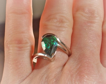 14K White Gold 3 Carat Created Emerald Solitaire Engagement Ring, Set with a 12 x 8MM Pear Shaped Emerald Green Gemstone