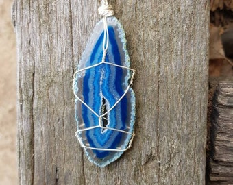Agate Slice Wire Wrapped Pendant