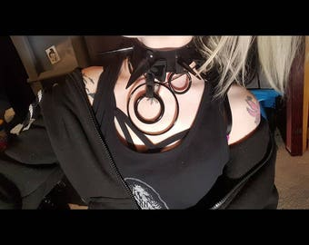 Little black dress Spiked choker. Spiked Collar / Spiked Choker real leather