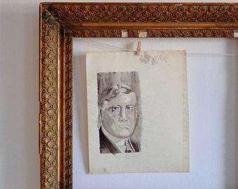 Ink wash portrait, Vintage portraits, Art school portrait, 1920's gentleman, Pen and Ink sketches, Rogues gallery portrait