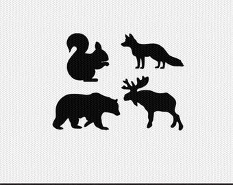 woodland animals svg dxf jpeg png file stencil monogram frame silhouette cameo cricut clip art commercial use