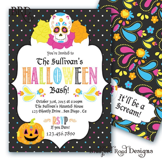 Halloween Day Of The Dead Invitation Halloween Costume Party - Day of the dead party invitation template