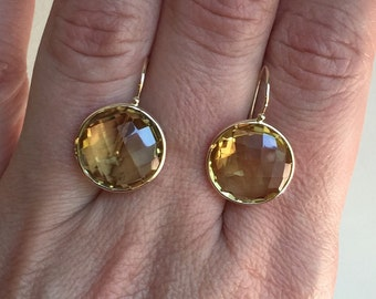 14k solid yellow gold and honey brown citrines large earrings, gemstone earrings