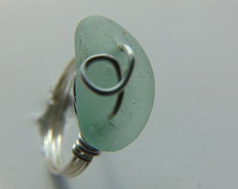 Ring  - Seaglass Ring - Wire Wrapped Beachglass Ring - Size 9 Seafoam Ring - Non Tarnish Silver Wire