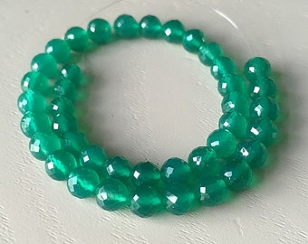 Green Onyx Micro Faceted Rounds 4.5-5mm // 4 inches, 21 Gems // Green Onyx Beads // Green Gemstone // Green Beads