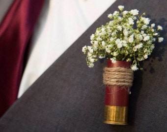 Shotgun shell wedding boutonnieres
