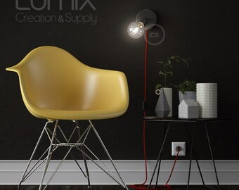 Adjustable spotlight to plug into power outlet - Textile cable with switch - Bring light to where you need it