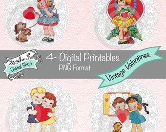 We Are 3 Digital Printables, Pre-Colored, Vintage Valentines