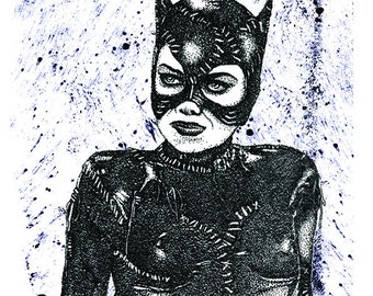 Hand Drawn Catwoman inspired fan art Print