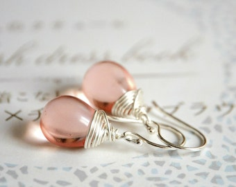 Pink Drops Earrings -  Sterling Silver and Czech Glass
