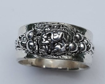 Handmade Wide Silver Ring - size 11 - 11 1/2