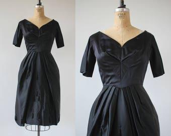 vintage 1950s dress / 50s black satin party dress / 50s LBD / 50s LBD little black dress / 50s tassel rhinestone dress / small 25 inch waist