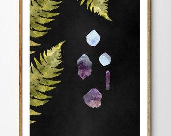 Botanical Art Print, Raw Gemstone Art, Fern Print, Rocks And Minerals, Leaf Print, Forest Nursery, Watercolor Print, Forest Art // Treasure