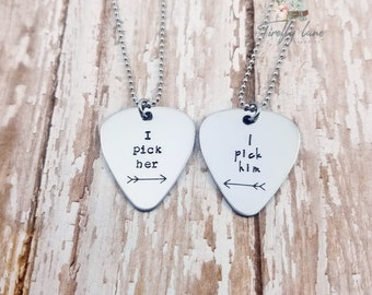 Hand stamped guitar pick couple's necklace set / i pick him / i pick her / guitar pick necklace / couples necklaces / valentines day gift